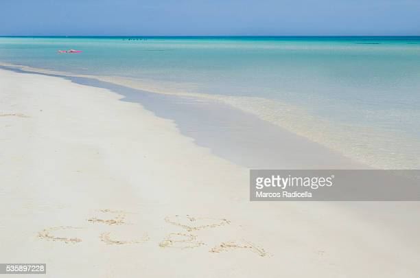 i love cuba, written in the beach - radicella stock photos and pictures