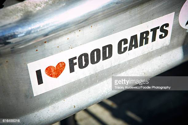 i love food carts bumper sticker - bumper sticker stock photos and pictures