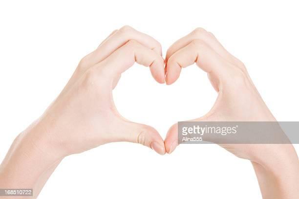 Love: Hands making a heat shape on white