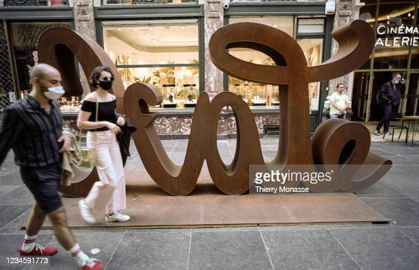 Love & Hate sculpture, designed by German conceptual and performance artist Mia Florentine Weiss, is seen Galerie de la Reine part of the Royal...