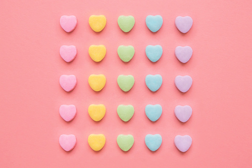 Love Hearts Background Valentine's Day Background With Rainbow Candy Hearts - gettyimageskorea