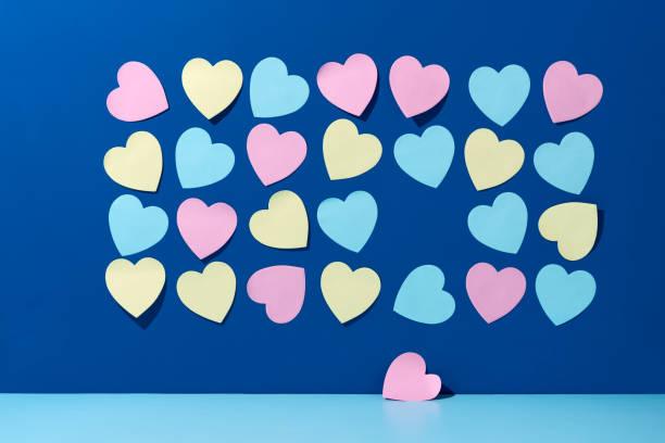 Love Hearts Fall From Heart-shaped Adhesive Notes
