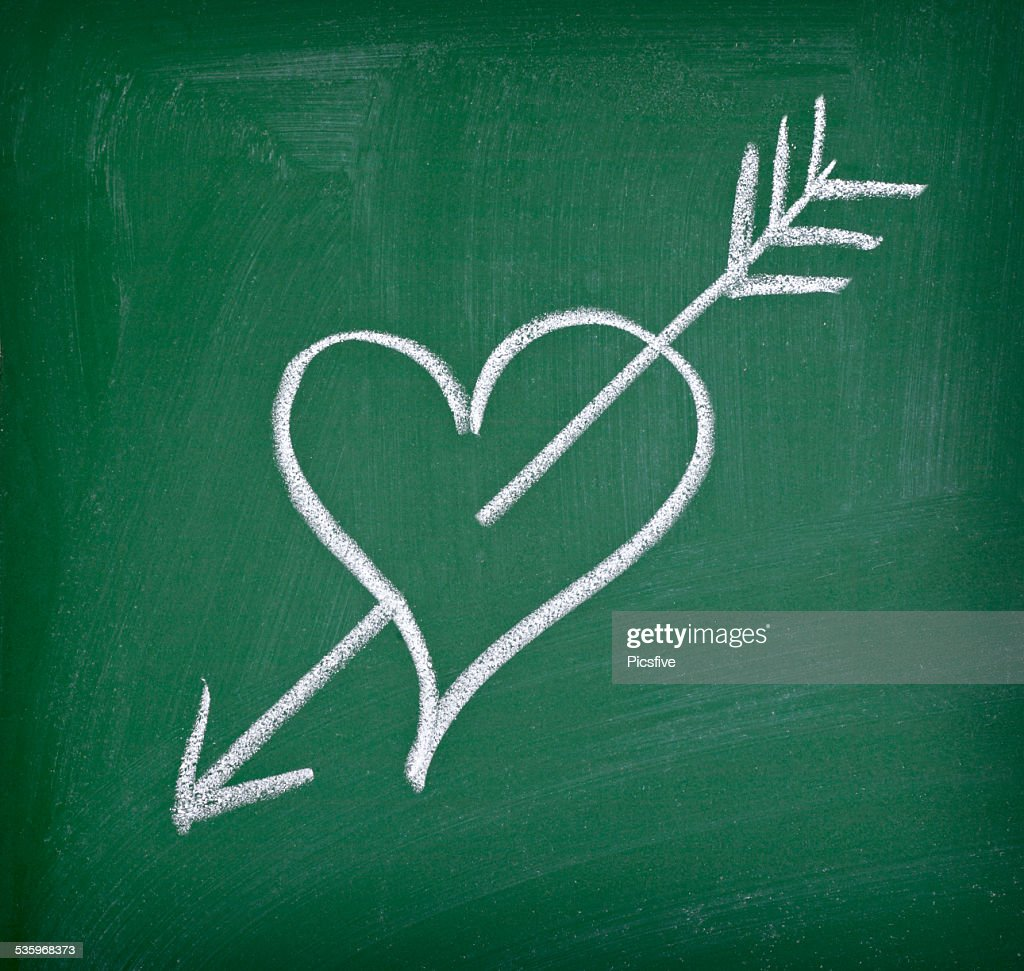 love hearts school chalkboard : Stock Photo