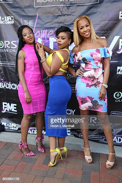 Love Hip Hop cast members Shay Johnson Sina Bina and Nikki NIcole arrive on the Women of Bad Boy red carpet at Marietta's New Theater on September 8...