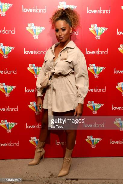 Love Island star Amber Gill attends the Just Eat Ultimate Love Island Date Night event at Night Tales on February 10, 2020 in Hackney, London,...