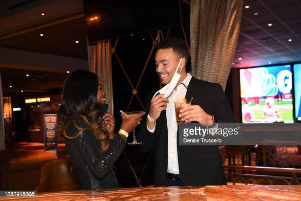 "Love Island"" U.S. Season two winners, Justine Ndiba and Caleb Corprew attend the reopening of The Cromwell, the final strip resort to reopen and the..."
