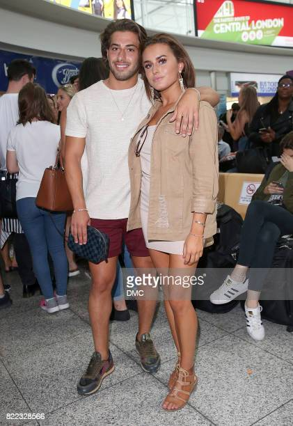 Love Island winners Amber Davies and Kem Cetinay arrive at Stanstead airport on July 25 2017 in London England