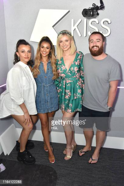 Love Island's Amy Hart and Joanna Chimonides visit Daisy Maskell and Tom Green at the Kiss FM Studio's on July 25, 2019 in London, England.