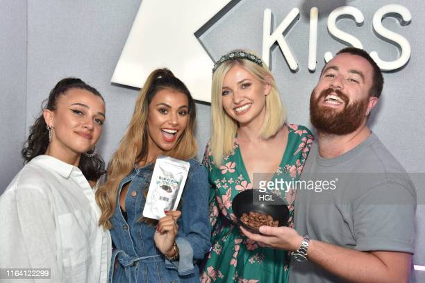 Love Island's Amy Hart and Joanna Chimonides visit Daisy Maskell and Tom Green at the Kiss FM Studio's on July 25 2019 in London England