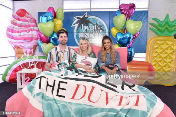 Love Island's Amy Hart and Joanna Chimonides visit the Heat Radio Studio's for 'Heat under the Duvet' with Jordan Lee on July 25, 2019 in London,...