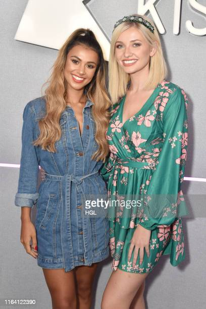 Love Island's Amy Hart and Joanna Chimonides visit the Kiss FM Studio's on July 25, 2019 in London, England.