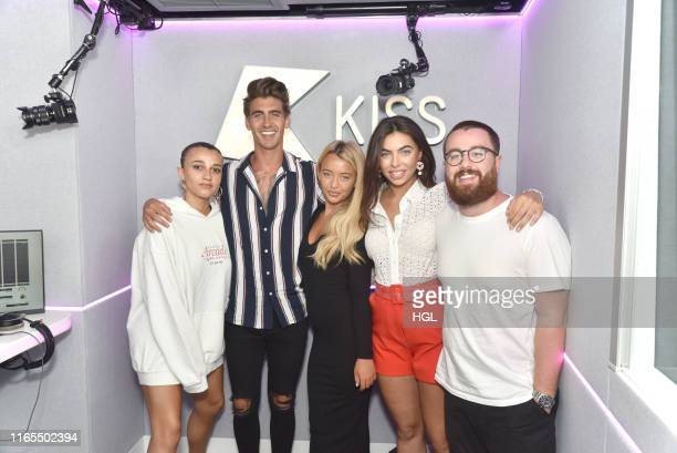 Love Island's Chris Taylor Harley Brash and Francesca Allen visit Daisy Maskell and Tom Green at the Kiss FM Studio's on August 01 2019 in London...