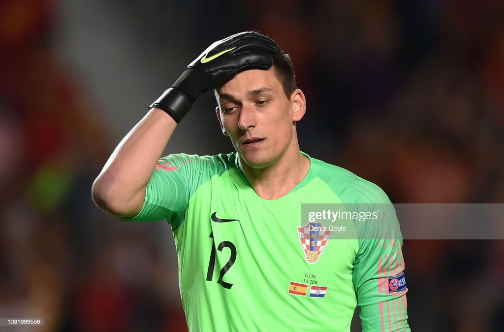 Love Kalinic of Croatia reacts after Spain scored their 4th goal during the UEFA Nations League A group four match between Spain and Croatia at Estadio Manuel Martinez Valero on September 11, 2018 in Elche, Spain.