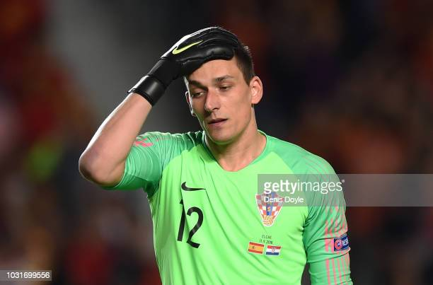 Love Kalinic of Croatia reacts after Spain scored their 4th goal during the UEFA Nations League A group four match between Spain and Croatia at...