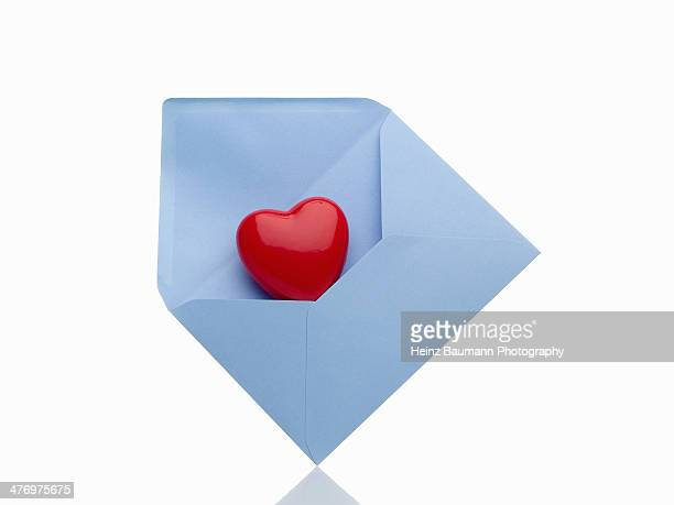 Love letter, blue envelope with red heart