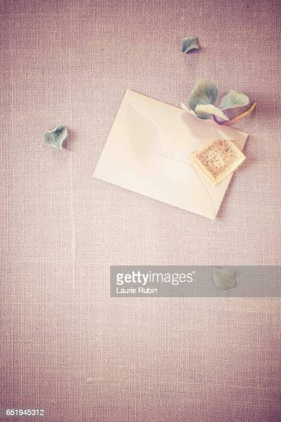 Love letter,Envelope,Stamp and flowers on a pastel background