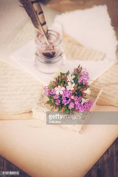 love letters and quill - love letter stock photos and pictures