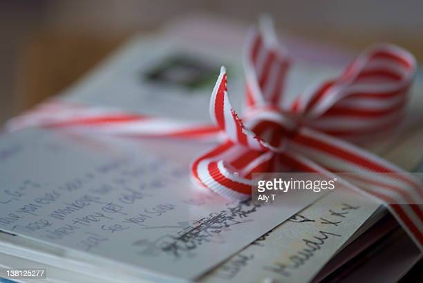 Love letters tied with ribbon