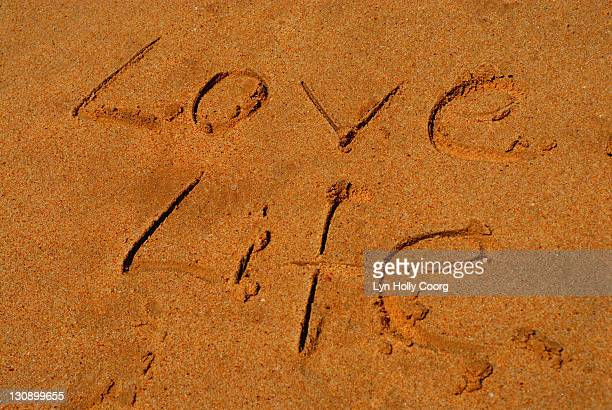'love life' written in sand - lyn holly coorg stock pictures, royalty-free photos & images