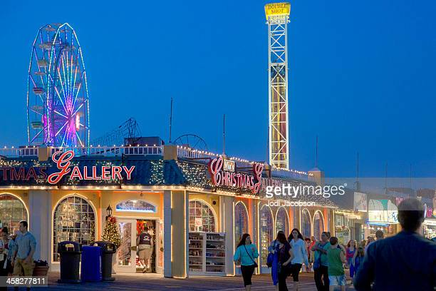 love local-boardwalk, ocean city new jersy usa at golden hour - ocean city new jersey stock photos and pictures