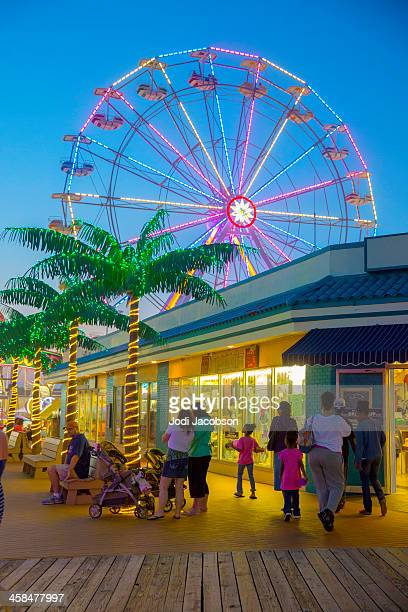 love local-jolly roger pier, boardwalk, ocean city new jersy - ocean city new jersey stock photos and pictures