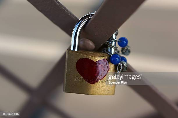 A 'love lock' is viewed on the Brooklyn Bridge one of thousands that have been placed along the bridge recently on February 13 2013 in New York City...