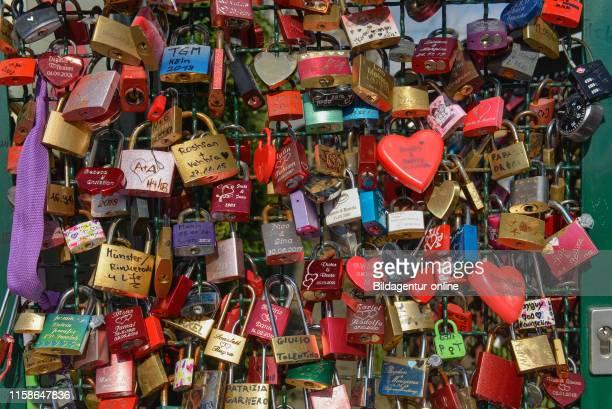 love lock or love padlock Hohenzollernbruecke Cologne Koln NordrheinWestfalen Germany