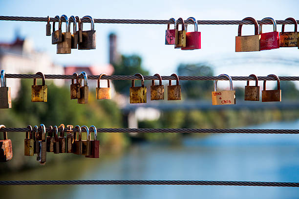 Love locks hang from Kettenbrücke bridge
