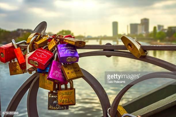 Love locks in a bridge in Frankfurt - Frankfurt, Hessen, Germany