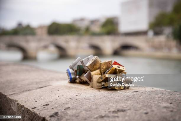 "love locks on pont neuf in paris, france - ""danielle donders"" stock pictures, royalty-free photos & images"