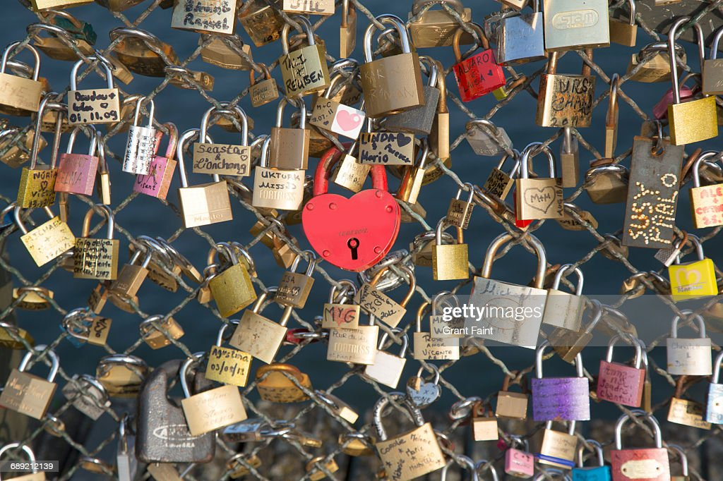 Love locks. : Stock Photo