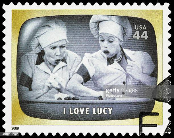 usa i love lucy chocolate factory episode postage stamp - chocolate factory stock photos and pictures