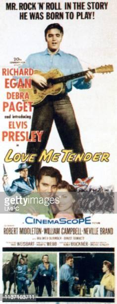 Love Me Tender, poster, top: Elvis Presley, bottom from left: Richard Egan, Elvis Presley, Debra Paget, 1956.