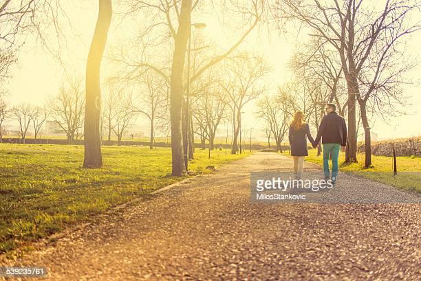 Liebe Mitte Erwachsenen Paar Hand in Hand und walking im park