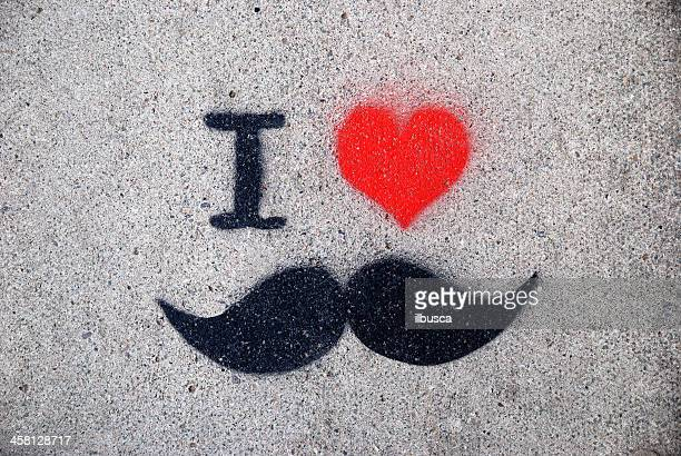 j'aime la moustache graffiti - i love you photos et images de collection