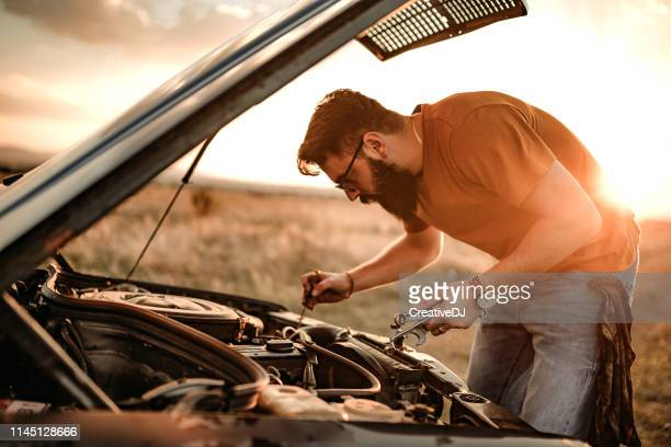 i love my engine - vintage auto repair stock pictures, royalty-free photos & images
