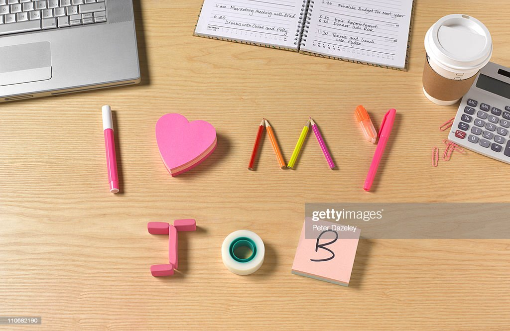 I love my job office desk : Stock Photo