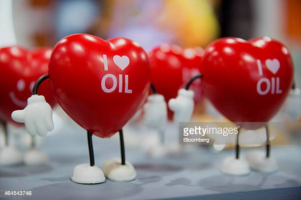 I Love Oil branded hearts are displayed at the Energy Tomorrow booth on the exhibit floor during the Conservative Political Action Conference in...