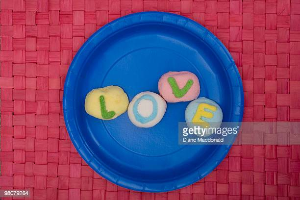 love on a paper plate - paper plate stock photos and pictures