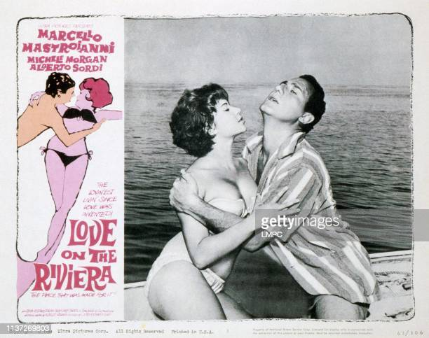 Love On The Riviera lobbycard from left Dany Carrel Alberto Sordi 1958