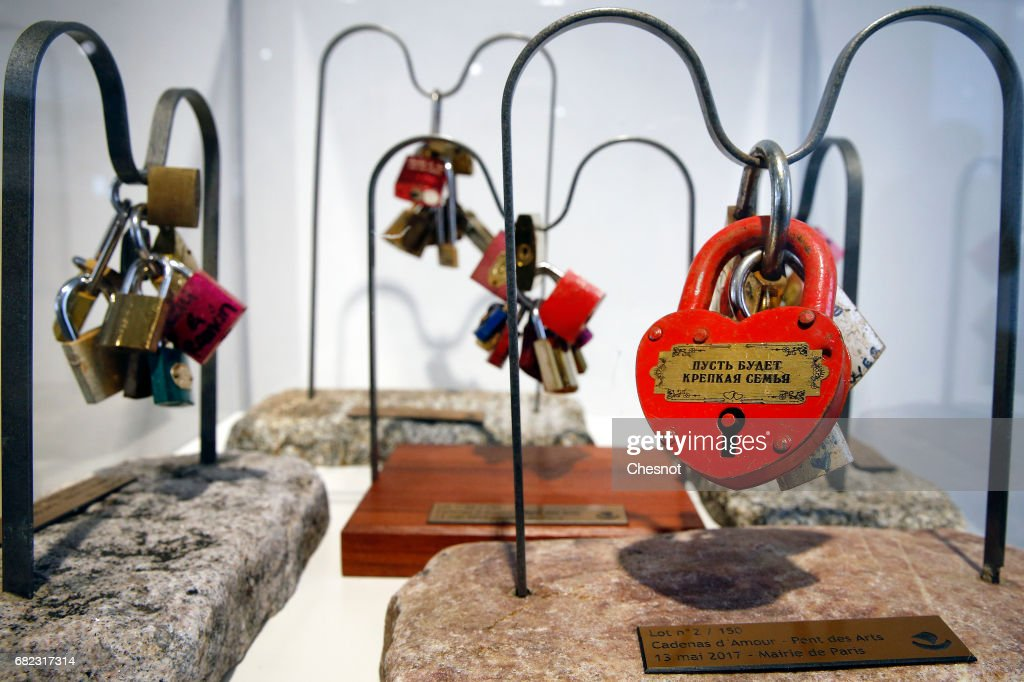 Paris Love Padlocks To Be Sold On Auction  In Paris In Order To Raise Money For Refugees on May 13th In Paris : News Photo