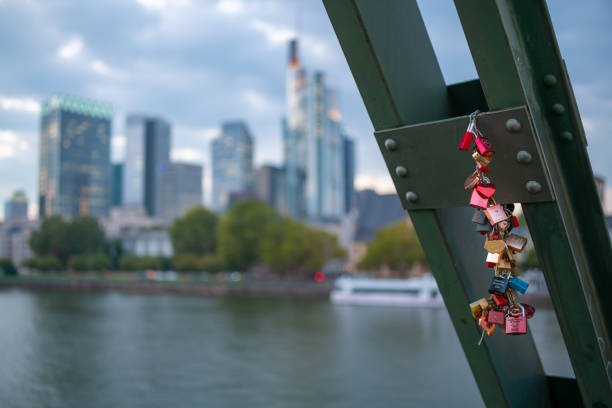 Love padlocks on Eiserner Steg bridge (dusk)