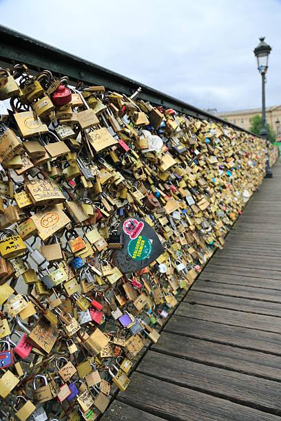 Love Padlocks on Pont des Arts Bridge