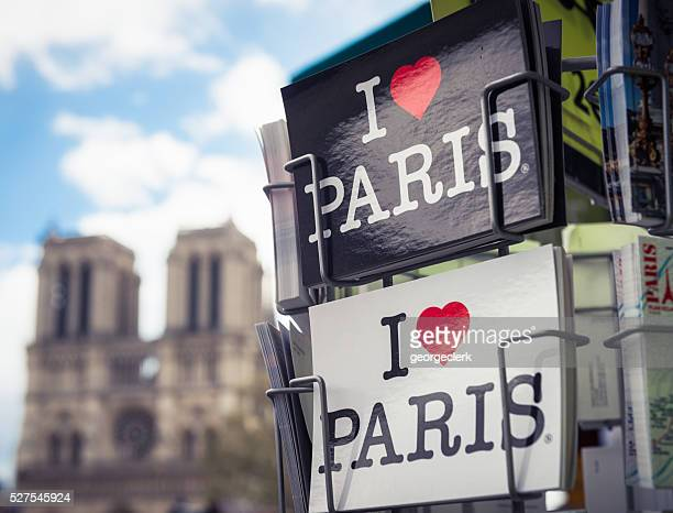 i love paris postcards for sale - notre dame de paris stock photos and pictures