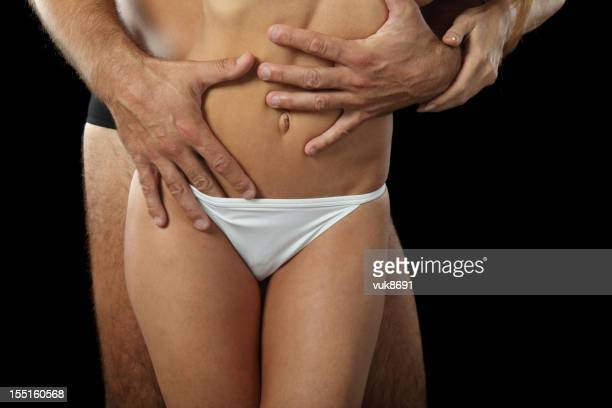 love - hands in her pants stock photos and pictures