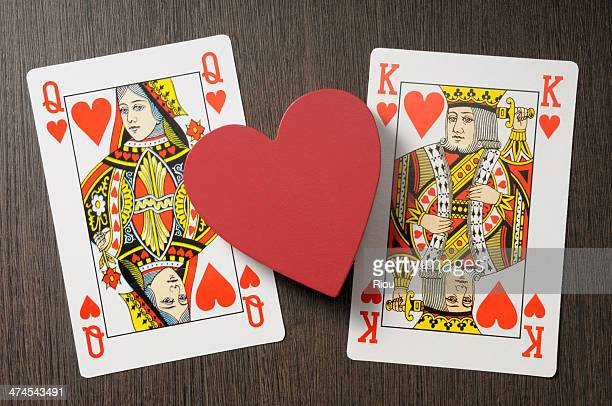 love - hearts playing card stock photos and pictures