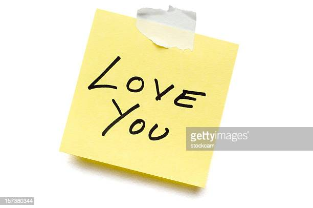 love post-it note isolated on white - love you stock photos and pictures