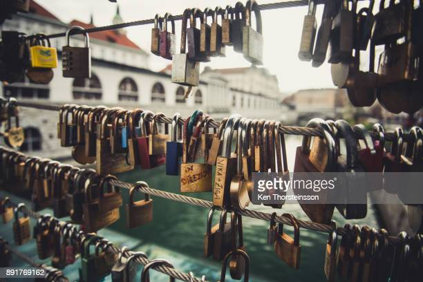 love promise on the bridge - padlock stock photos and pictures