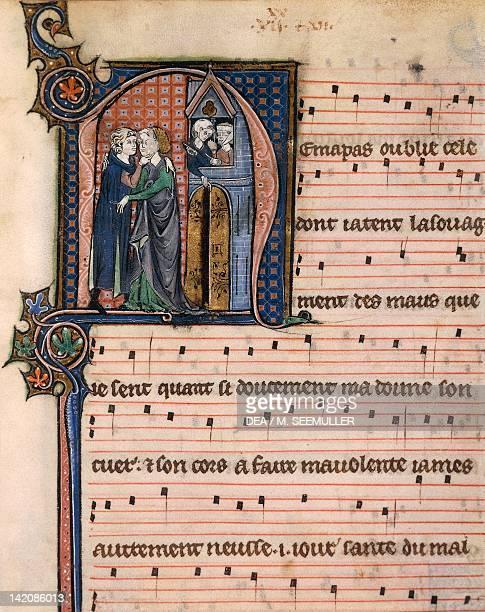 Love scene miniature by Chansonnier de Paris manuscript France 12801315