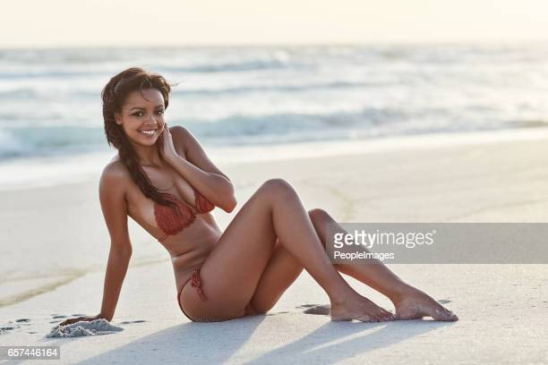 i love spending my free time at the beach - perfect female body shape stock photos and pictures
